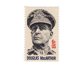 10 Unused Vintage Postage Stamps - 1971 6c Douglas MacArthur - Item No. 1424