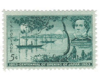 10 Unused Vintage Postage Stamps - 1953 Opening of Japan - Item No. 1021