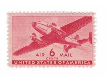 10 Unused Vintage Postage Stamps - 1941 6c Airmail Twin-Motor Transport - Item No. C25
