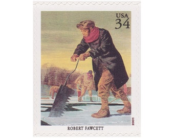 5 Unused US Postage Stamps - 2001 34c American Illustrator Series - Robert Fawcett - Item No. 3502d