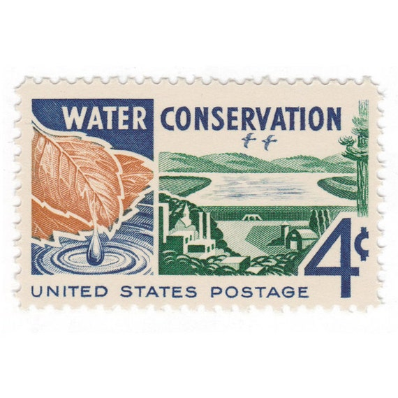 10 Unused Vintage Postage Stamps 1960 4c Water Conservation Item No 1150