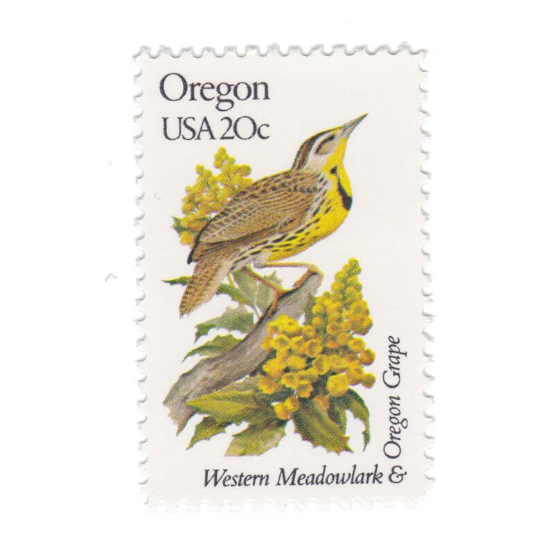 1982 20c State Bird and Flower Series Oregon Meadowlark ...
