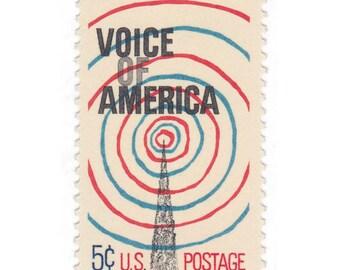 10 Unused Vintage Postage Stamps - 1967 5c Voice of America - Item No. 1329