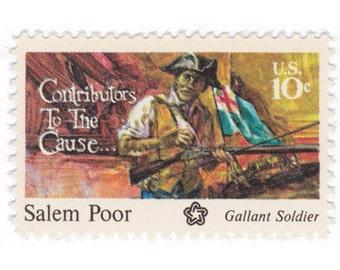 10 Unused Vintage Postage Stamps - 1975 10c Salem Poor - Item No. 1560