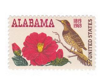 10 Unused Vintage Postage Stamps - 1969 6c Alabama Statehood - Item No. 1375