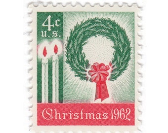 10 Unused Vintage Postage Stamps - 1962 4c Christmas Wreath and Candles - Item No. 1205