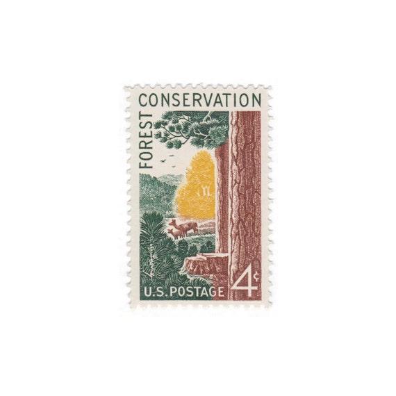 10 Vintage Unused Postage Stamps 1958 4c Forest Conservation