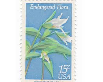 10 Unused Vintage Postage Stamps - 1979 15c Endangered Flora Trillium - Item No. 1783
