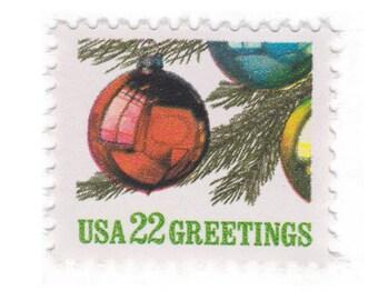 1987 22c Christmas Ornament - 10 Unused Vintage Postage Stamps - Item No. 2368
