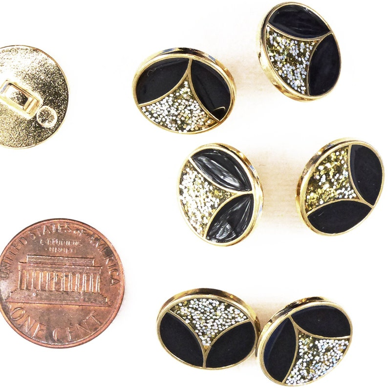 Vintage Black and Glitter Inlay Gold Button 15 mm