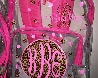 Personalized Clear Backpacks-cheetah with glitter fbe30ecb2c7d8
