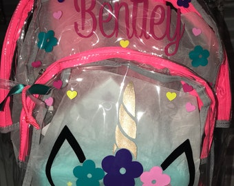 Unicorn backpack - Personalized Clear Backpacks-Unicorn design 8e53110757816