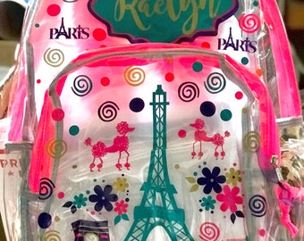 Personalized Clear Backpacks-Paris themed 347b1a13c25d0