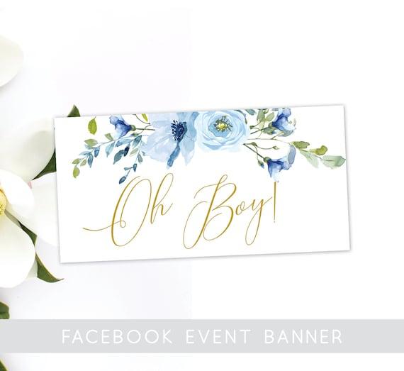 Oh Boy Baby Shower Facebook Event Banner Instant Download Etsy