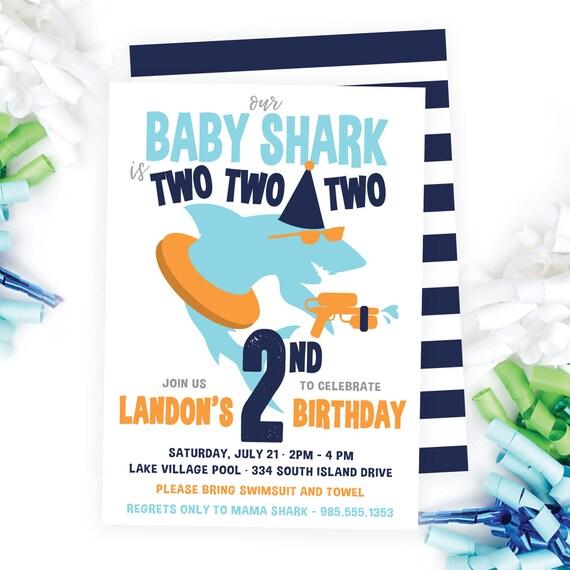 Baby Shark Invite Pool Party Modern Invitation