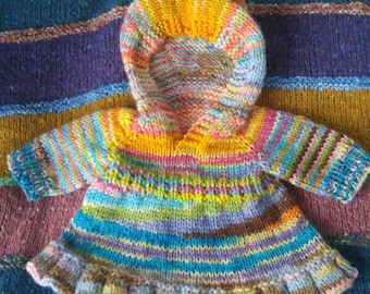 "Fits 15/"" /& 18/"" Dolls Soft Orange /& White Stripe Sweater and Hat"