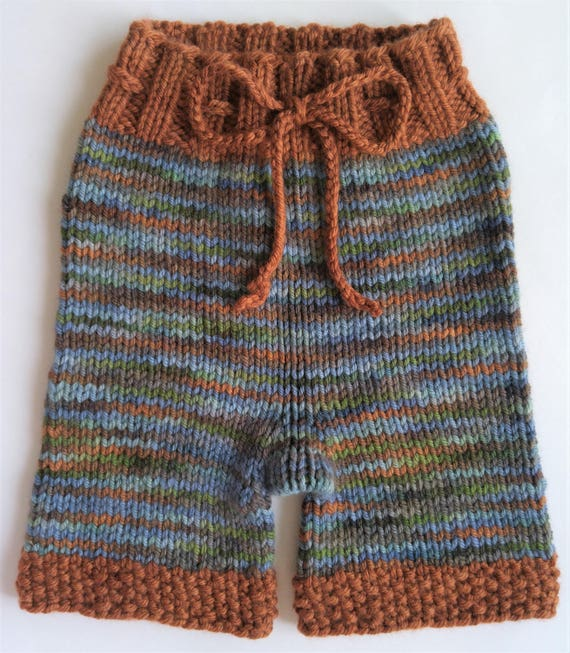 nighttime nappy High Spirits size 9 to 18 months natural parenting eco friendly Hand Knit Wool Shorties Wool Diaper Cover
