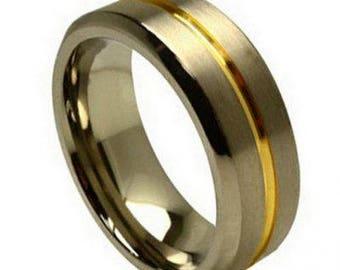 Anniversary Ring Ti5122 FREE ENGRAVING Mens 8mm Semi-Dome Beveled Edge Polish Black IP Titanium Wedding Band w// Black CZs over Satin Finished Center