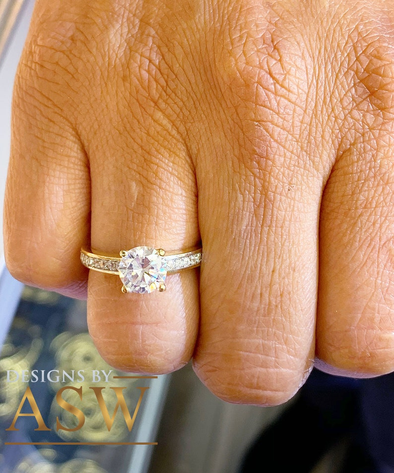 Beautiful 14k solid yellow gold round cut simulated diamond engagement ring bridal propose wedding anniversary promise 1.40ct