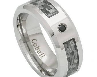 High Polished Cobalt Ring 0.07ct Black Diamond center stone; with Dark Gray Carbon Fiber Inlay Beveled Edge – 8mm