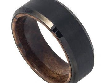Black  IP Plated Brushed Finish Beveled Edge with African Sapele Mahogany Wood Sleeve/Inner Ring – 8mm
