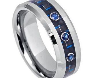 Three 0.07ct BLUE SAPPHIRE Center Stone on Blue Carbon Fiber Inlay, High Polished Beveled Edge – 8mm