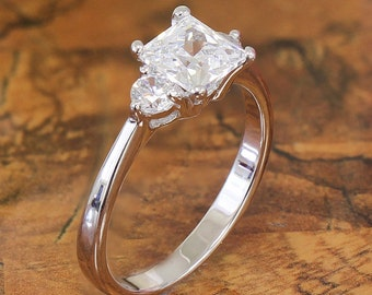14k Solid White Gold 1.90ct Princess an Round Prong Engagement Ring Three Stone Style simulated Diamond Ring Wedding Ring