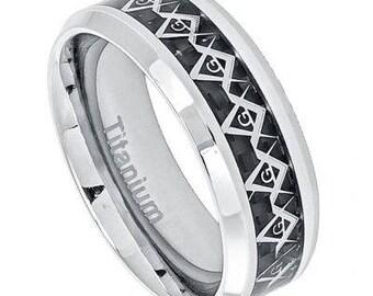High Polished Titanium Cut-Out Masonic Symbol Inlay over Black Carbon Fiber Inlay; Beveled Edge – 8mm