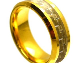 Yellow Gold Tone IP Plated High Polished with Golden Carbon Fiber Inlay Beveled Edge – 8mm