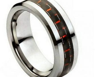High Polished with Red & Black Carbon Fiber Inlay – 8mm