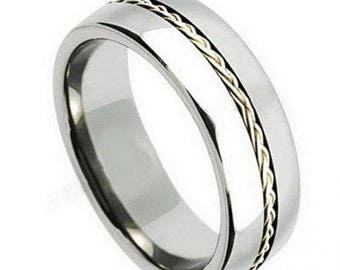 Titanium Ring Grooved with Braided Sterling Silver Inlay – 8mm