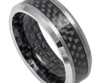 Carbon Fiber Inlay Inside & Out, High Polished Shiny Beveled Edge – 8mm