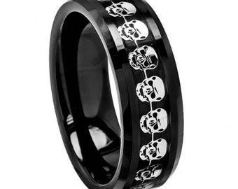 High Polished Black Carbon Fiber Cut-Out Skull Symbol Inlay Beveled Edge – 8mm