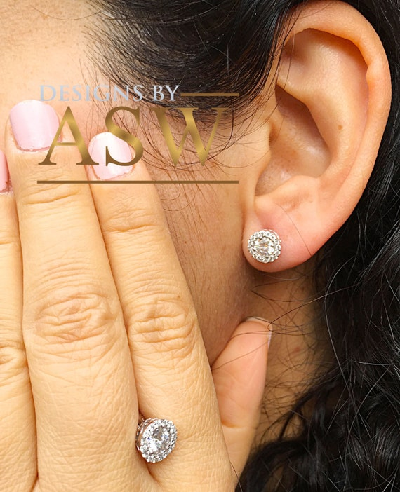 10k Real White Gold 1.00 Ct Round Cut Simulated Diamond Bezel Set Solitaire Stud Earrings