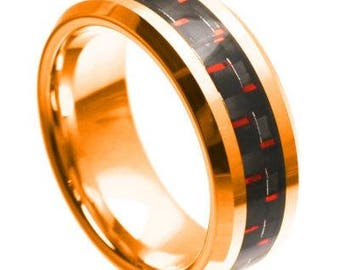 Rose Gold Plated High Polish with Red & Black Carbon Fiber Inlay Beveled Edge – 8mm