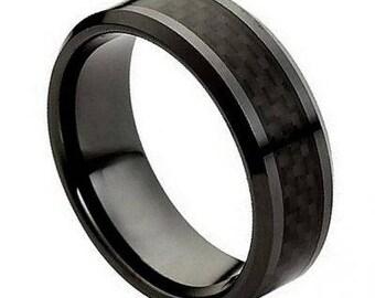 Ceramic Ring with Black Carbon Fiber Inlay – 8mm