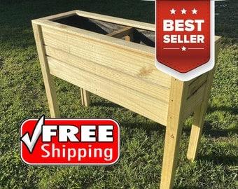 """Wood Rectangular Raised Planter Box, 26"""" tall 15"""" deep, rooftop, deck & balcony garden"""