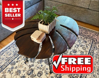 Monstera Deliciosa (Swiss Cheese Plant) Leaf Coffee Table - End Table - Side Table - Art - Plant Lovers