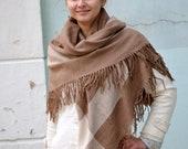 Vintage tartan shawl wrap, plaid beige fringed warm women men shawl, square shawl, wool Blanket scarf, Outlander shawl, oversized scarf