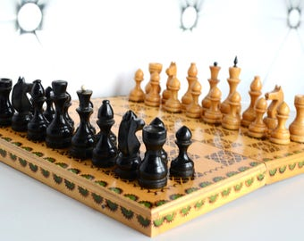 Wooden chess set, big chess board, Soviet wooden chess, Fathers Day, gift for him, Christmas gift, retro gift decor