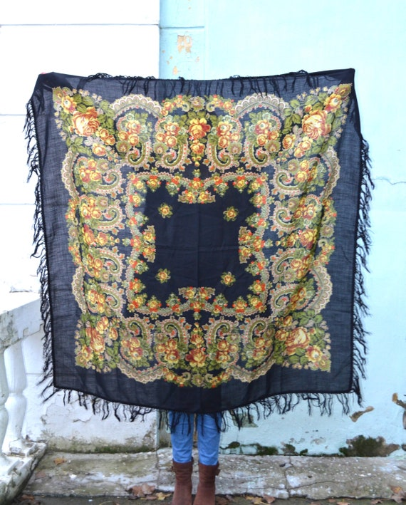 Vintage russian shawl Pavlovo Posad, Floral gypsy… - image 6