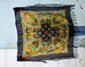 Fringed Black shawl Scarf for women Pavlovo Posad Ukrainian folk gift Rustic wedding shawl mother of bride Womens Fringed wrap gift for mum