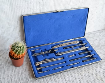 Vintage Drawing Set, Drafting tools, Old School supplies, engineer gift, mathematical compass, Art Supplies