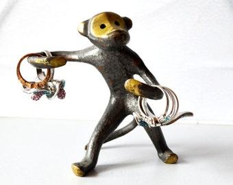Vintage Monkey Brass, Ring Holder, Monkey Bronze Figure, Vintage Ring Organizer, Walter Bosse Figurine, Good Luck Monkey 2016