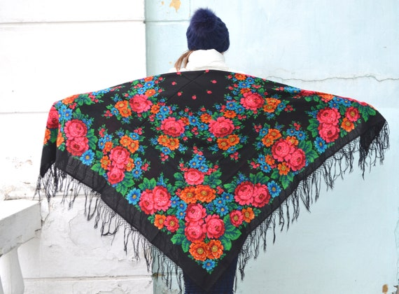 Vintage russian shawl Pavlovo Posad, Floral gypsy… - image 5