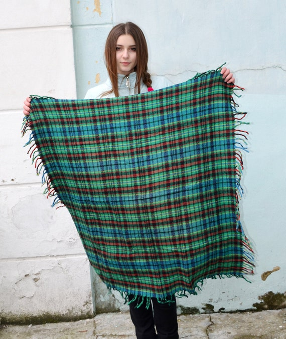 Vintage green blue wool scarf, Christmas gift scot
