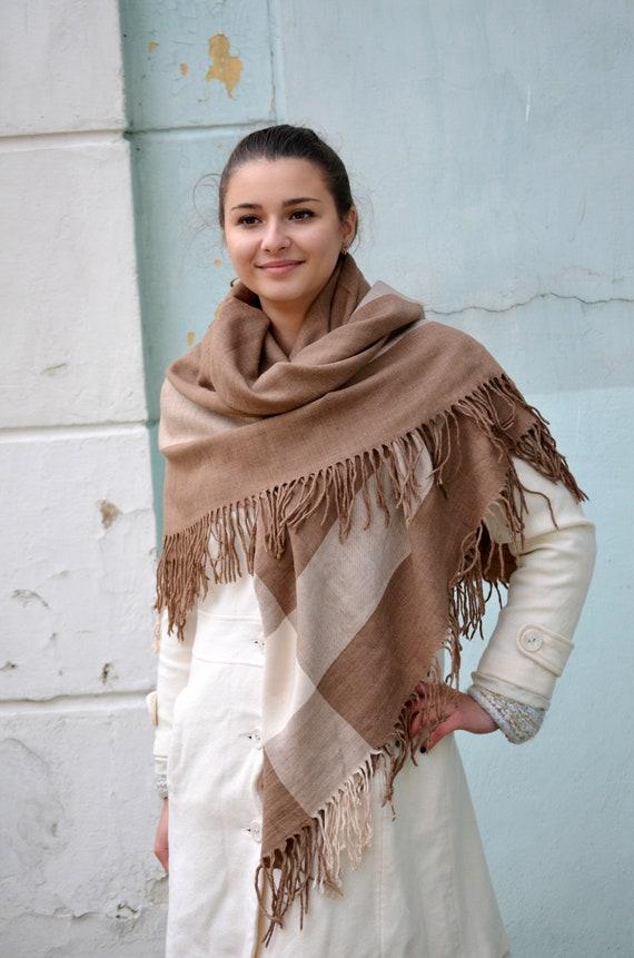 Vintage tartan shawl wrap, plaid beige fringed war