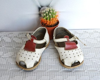 Leather Baby Shoes, red white shoes,  4 US 19 EU, girls boys sandals, Soviet baby shoes, children boots, Kids room decor
