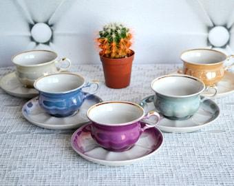 Coffee china set, Porcelain coffee set, espresso set 5 cups, pastel multicolor, retro kitchen, Mid Century Espresso, mocha cups