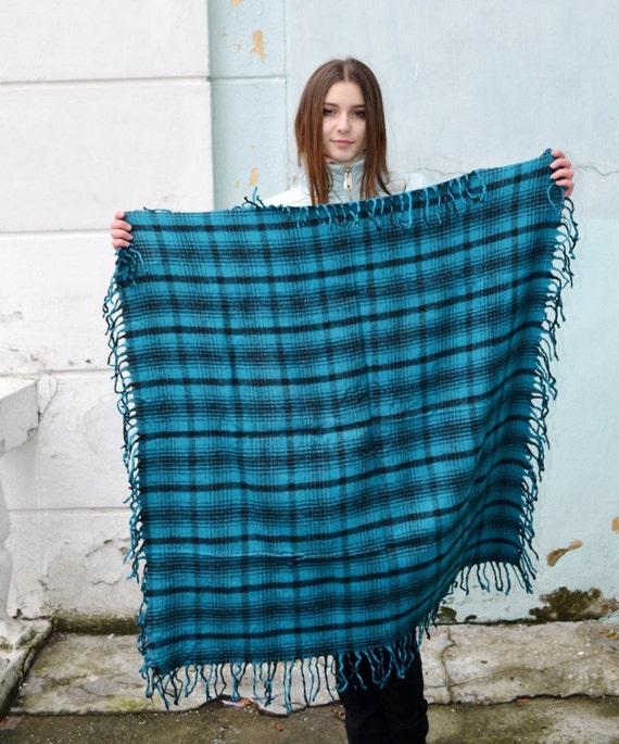 Vintage green blue wool scarf, scottish tartan, pl